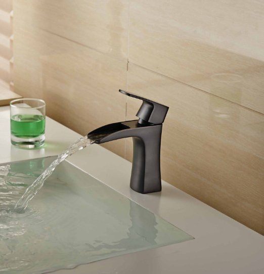 Aquafaucet Waterfall Spout Open Channel Bathroom Faucet Sink