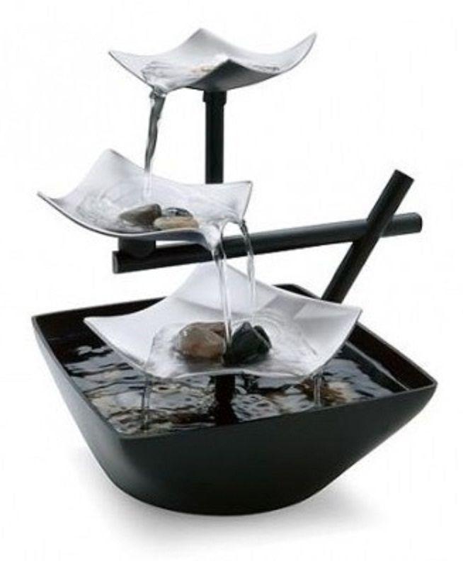 Indoor Tabletop Fountain Waterfall Zen Rock Water Garden Home Office Decor  New