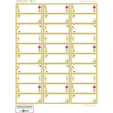 Martha stewart home office with avery easy peel white for Avery 5962 template