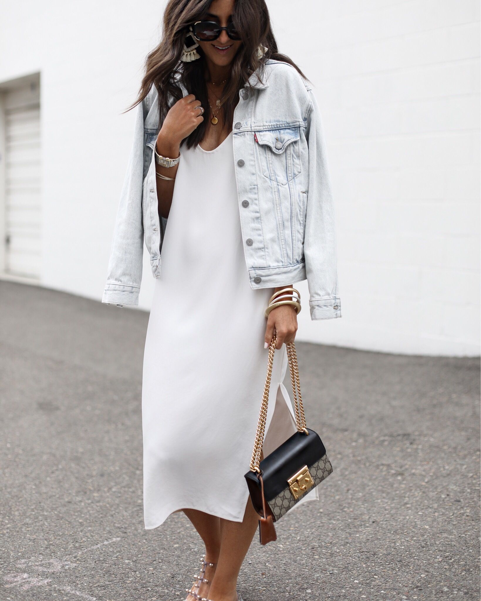 White Dress And Denim Jacket Fashion Black Dress Outfit Casual Casual Dress Outfits [ 2048 x 1639 Pixel ]