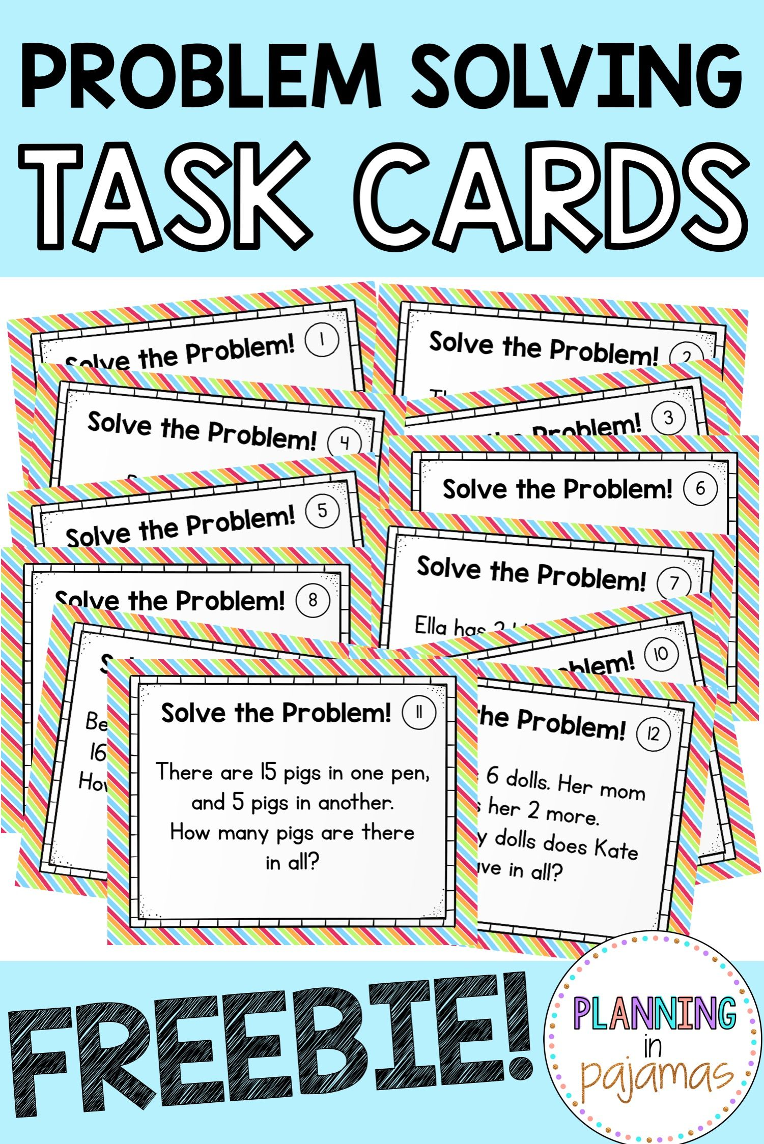 FREE Math Problem Solving Addition Subtraction Task Cards ...
