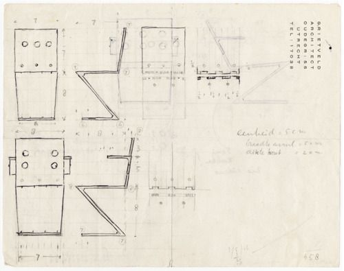 Bouwkunst working drawings of an early zigzag chair design by gerrit rietveld sketch manually - Chaise zigzag ...