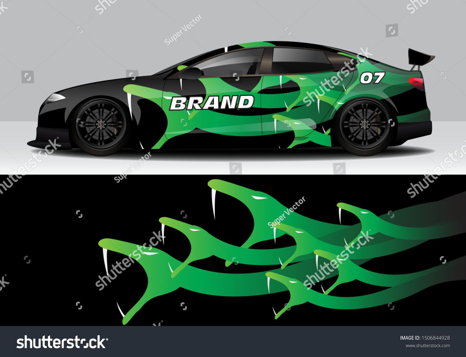 snake motif car wrap vector design template. eps10 Car