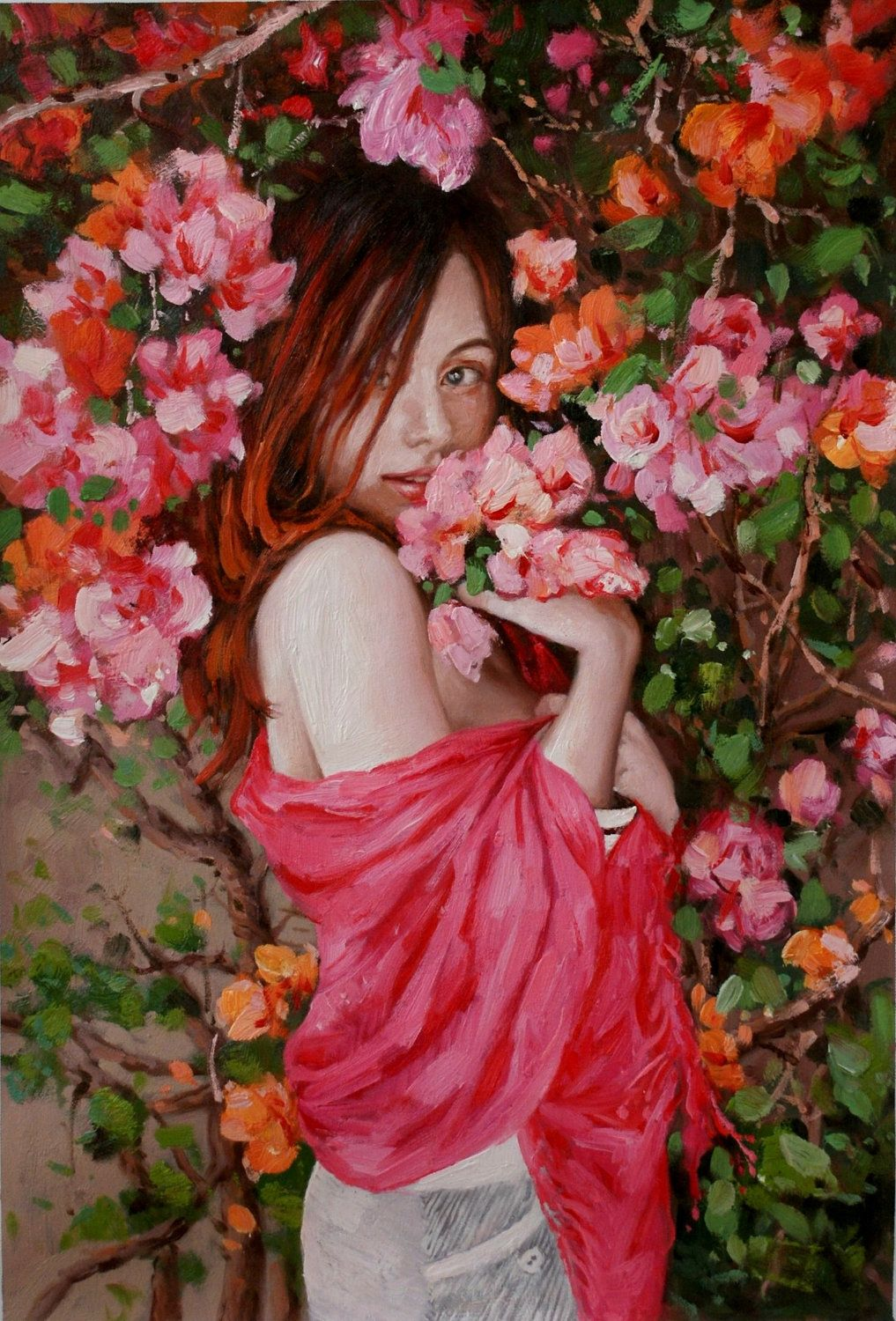 Girl & Bougainvillea, Flower, Lady, Woman, Portrait