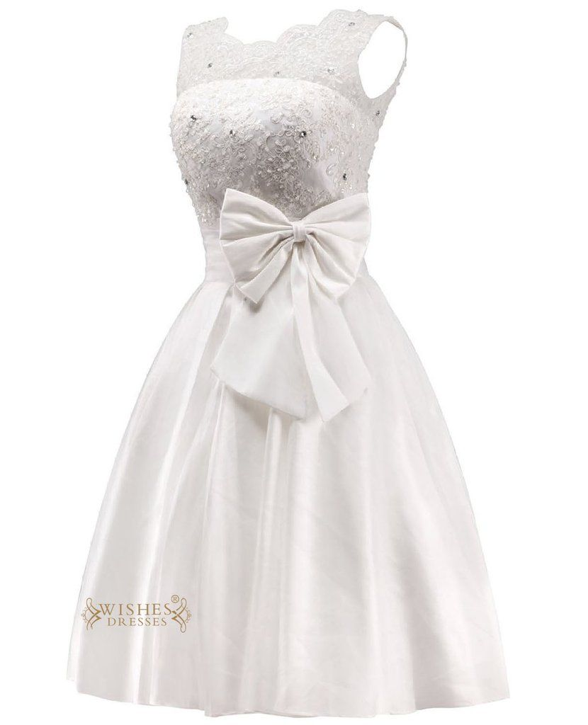 Pretty applique and bowknot short wedding dress reception bridal