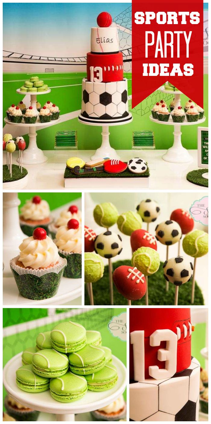 a green and white multi sport party for a teenage boy with tennis ball macarons and an amazing cake see more party planning ideas at sports party food
