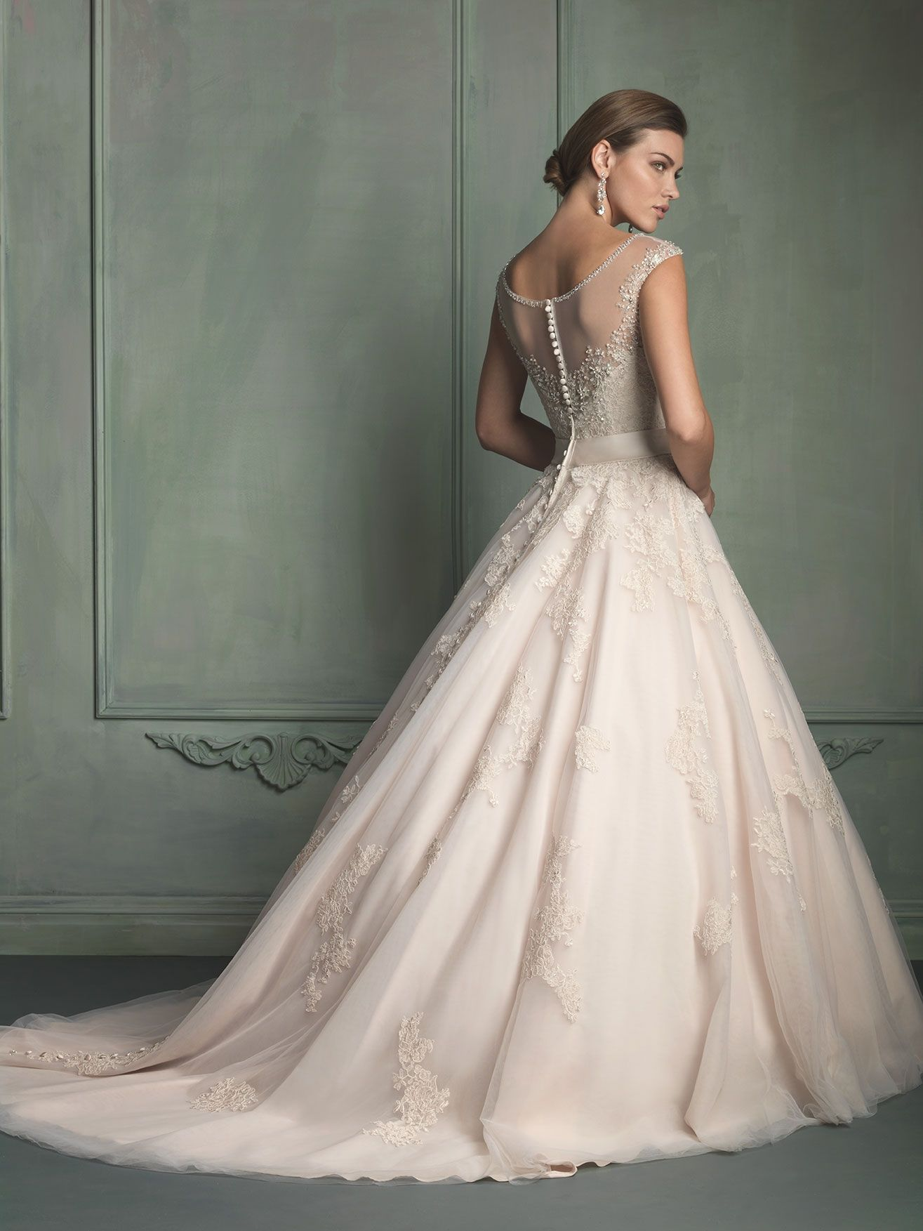 Allure Bridals Collection Style 9114 Available Colours White Silver Ivory Champagne Back