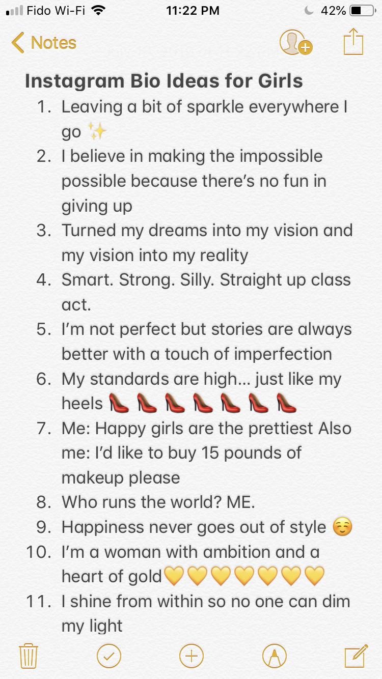 Instagram Bio Ideas For Girls Instagram Bio Ideas Instagram