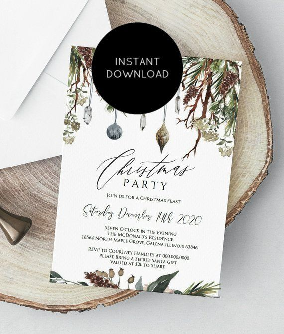 christmas party invitation rustic christmas invitation template