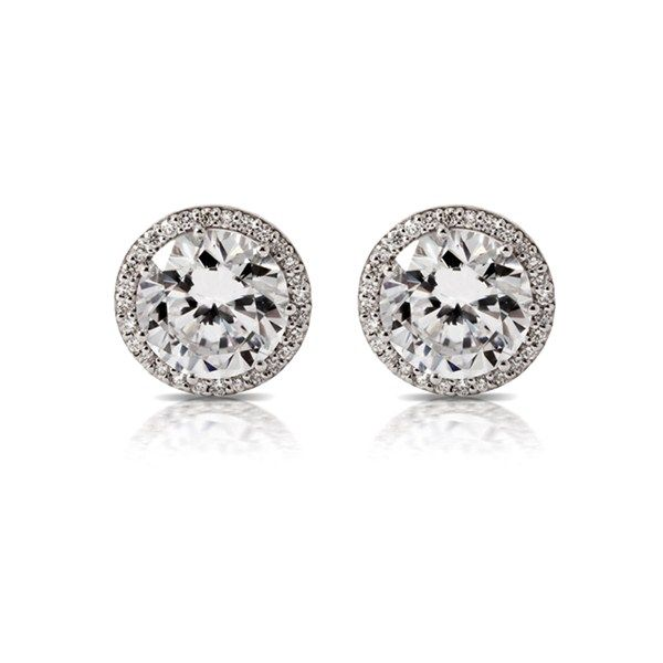 Tacori Crescent Collection G Set Round 98cttw And Pave Diamond 15cttw Stud Earrings 1 13cttw