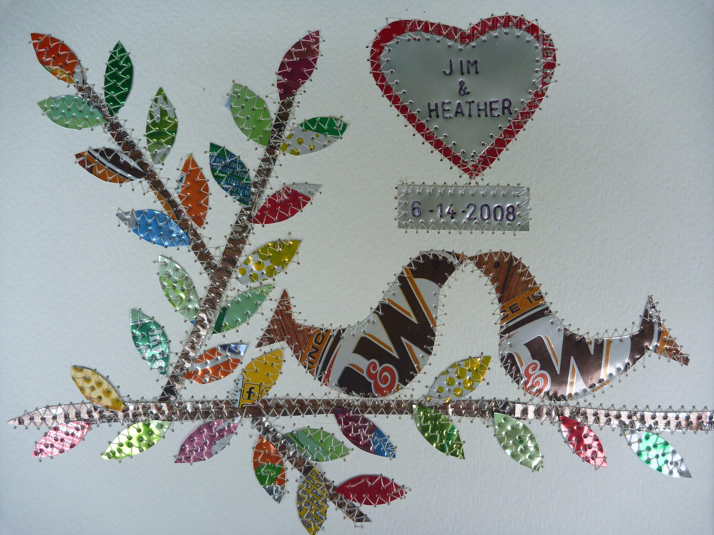 Tin year  10 Year Wedding Anniversary - Tin Anniversary - Wedding Gift - Bridal Shower -8 x 10 - Birds - Heart- Leaves - Alu - Mixed Collage