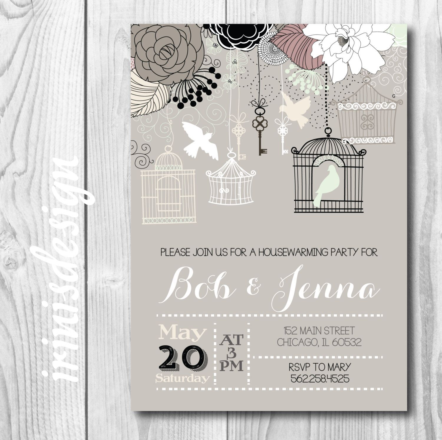 Housewarming Party Invitation Invite | neutral gray taupe mint green pink birds cage tree keys printable 39 by irinisdesign on Etsy https://www.etsy.com/listing/232221558/housewarming-party-invitation-invite