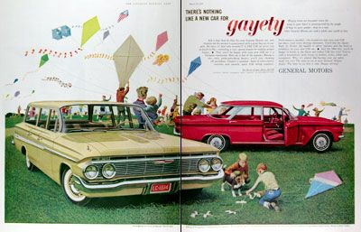 1961 Chevrolet Original Vintage Advertisement Featuring The Chevrolet Nomad Station Wagon And The Debut Of The C Chevy Corvair Automobile Advertising New Cars