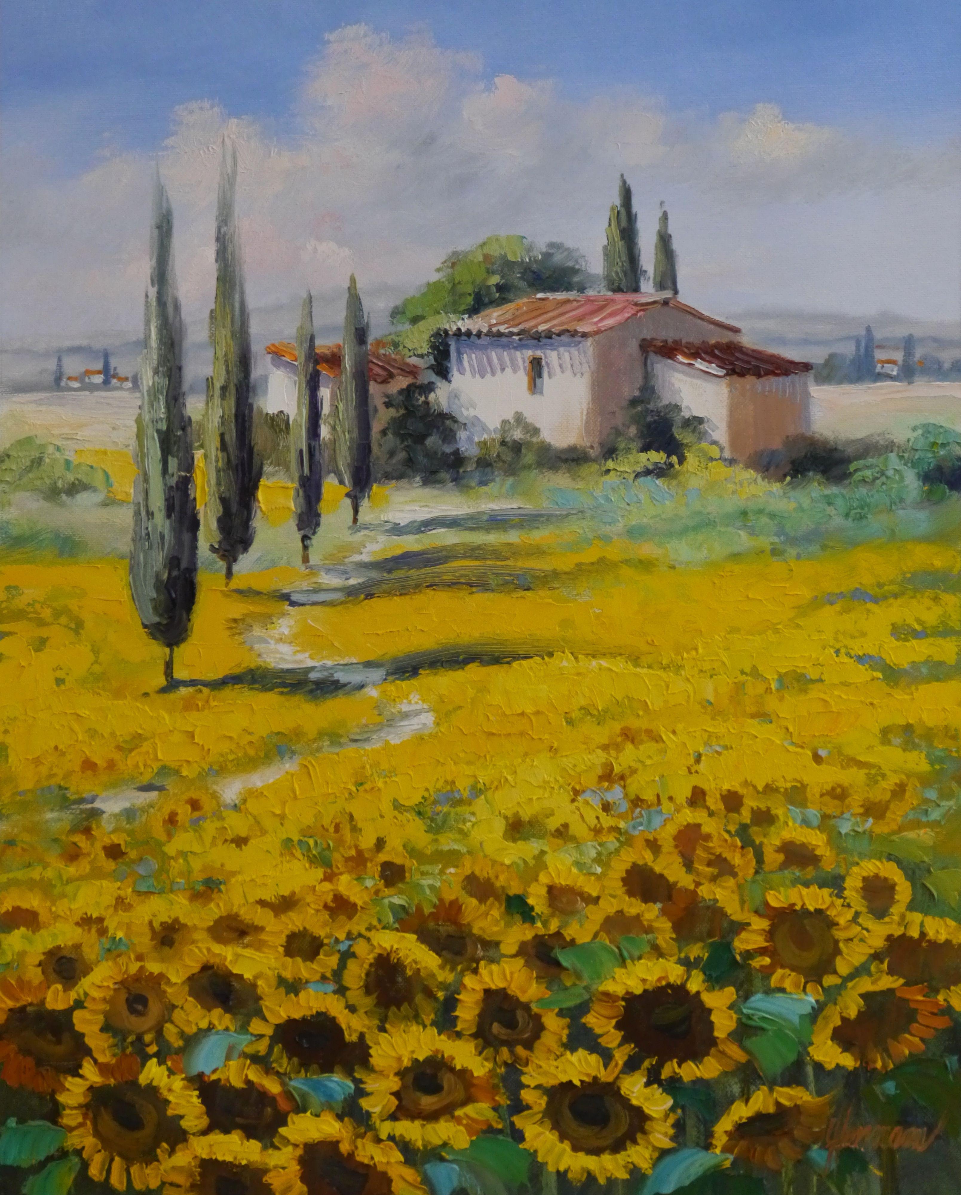 ute herrmann leuchtend gelbe sonnenblumen landschaft mit zypressen in der toskana ein weg. Black Bedroom Furniture Sets. Home Design Ideas