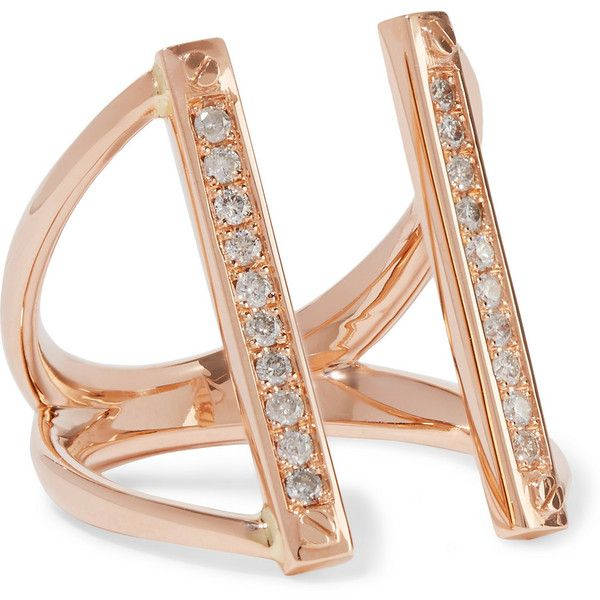 Carbon Hyde Screwbar 14karat rose gold diamond ring 966