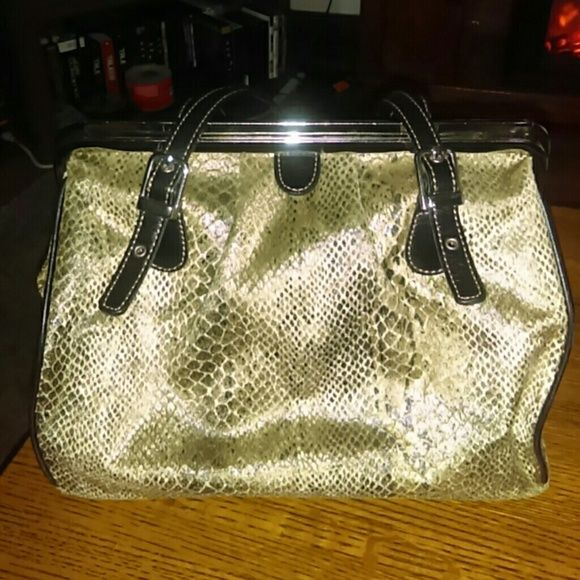 fe3e5e0ee44e Maxx New York   Snake Skin Print Purse Brown and goldish snake skin print.  No major flaws besides some ink in the interior. Maxx New York Bags  Shoulder Bags