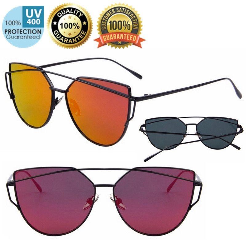ae1ce51c2167c Quality Retro Cat-eye Twin-beam Sunglasses