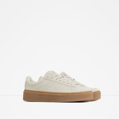 69 Leather Sneakers With Chunky Sole From Zara Kickin It