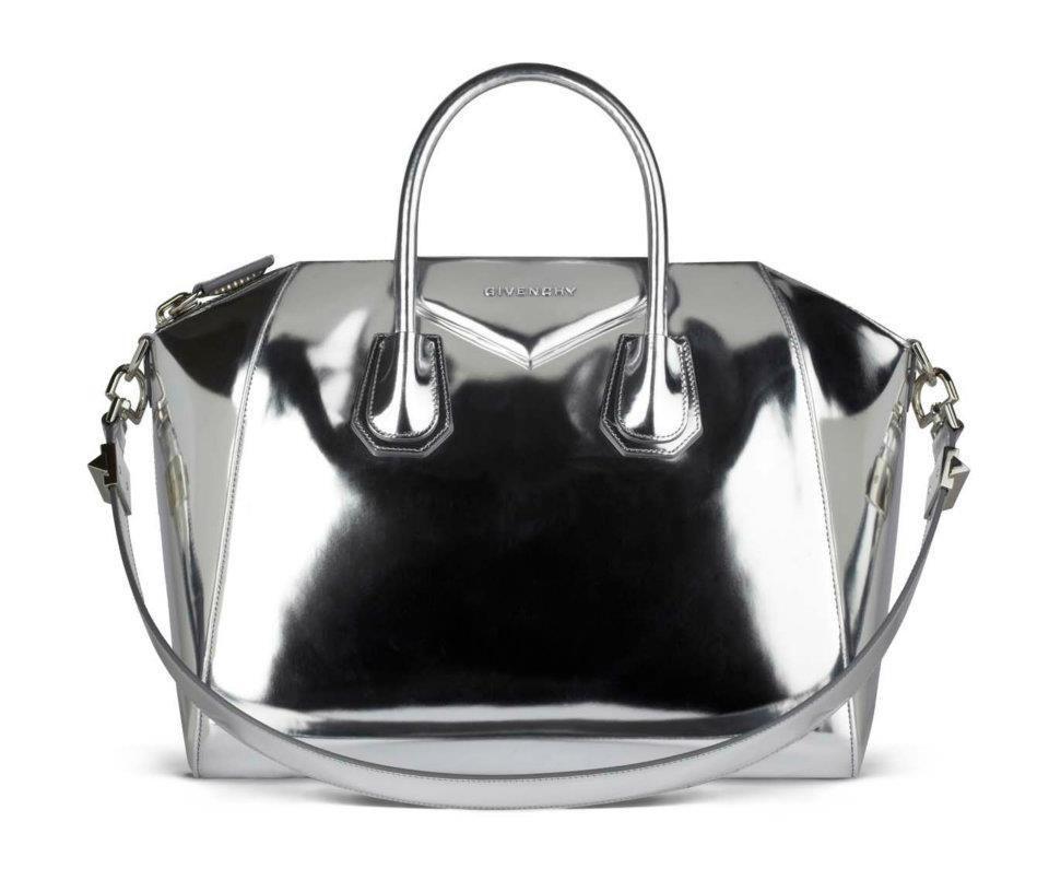 2e0f4776626a Givenchy antigona silver mirror leather bag.