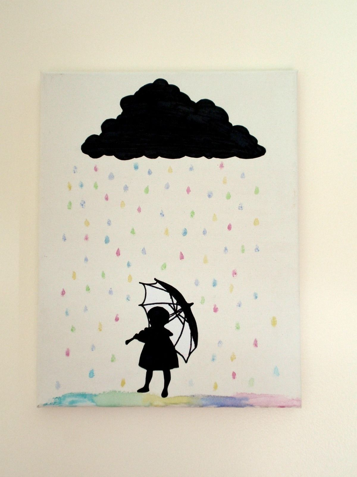 Silhouette Rain Cloud Canvas Art. I love this!