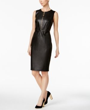 Calvin Klein Faux Leather Sheath Dress Black 16 | Sheath