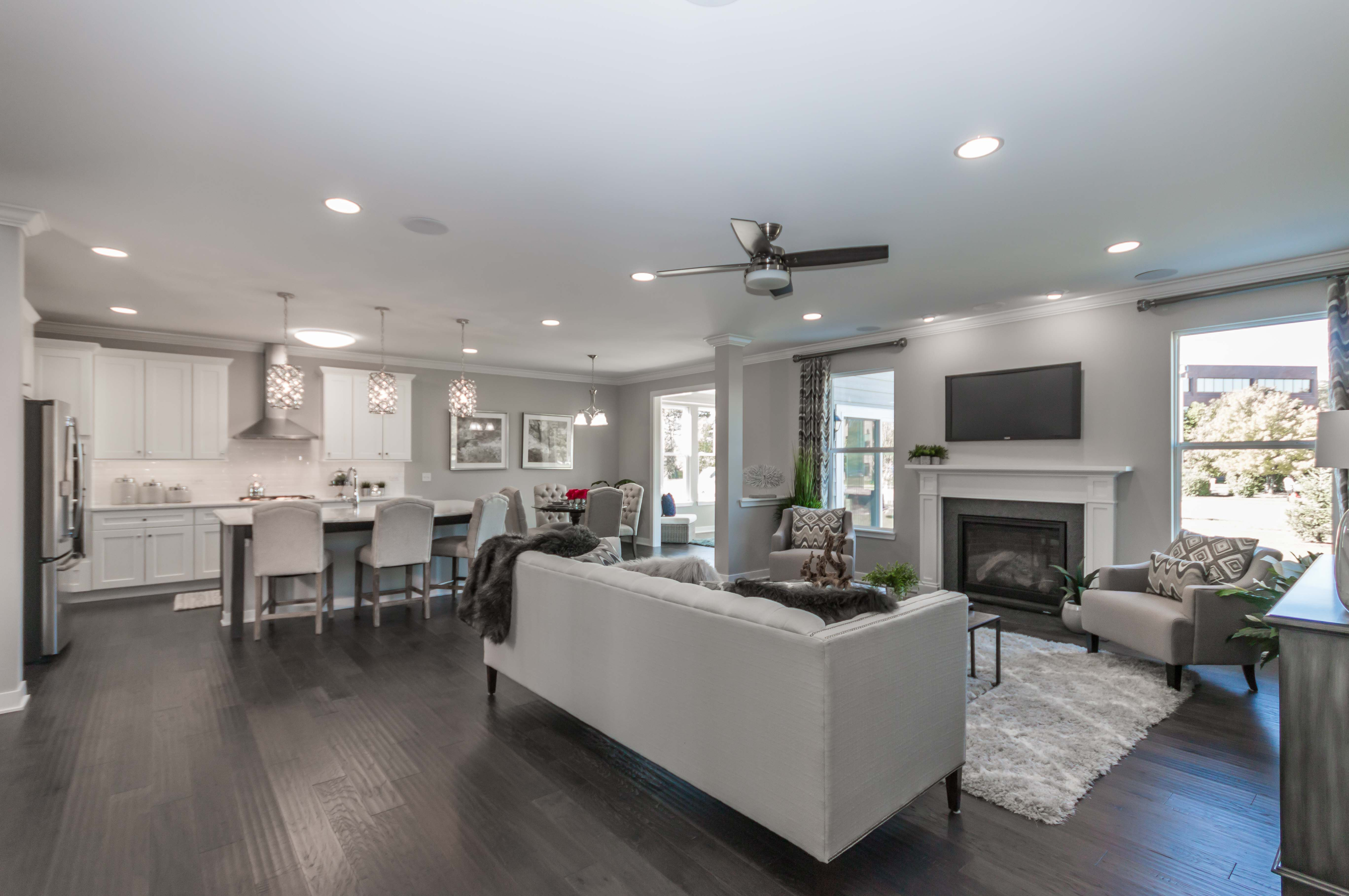 Open Plan Concept See Home Tour Corner Fireplace Living Room Model Homes New Homes