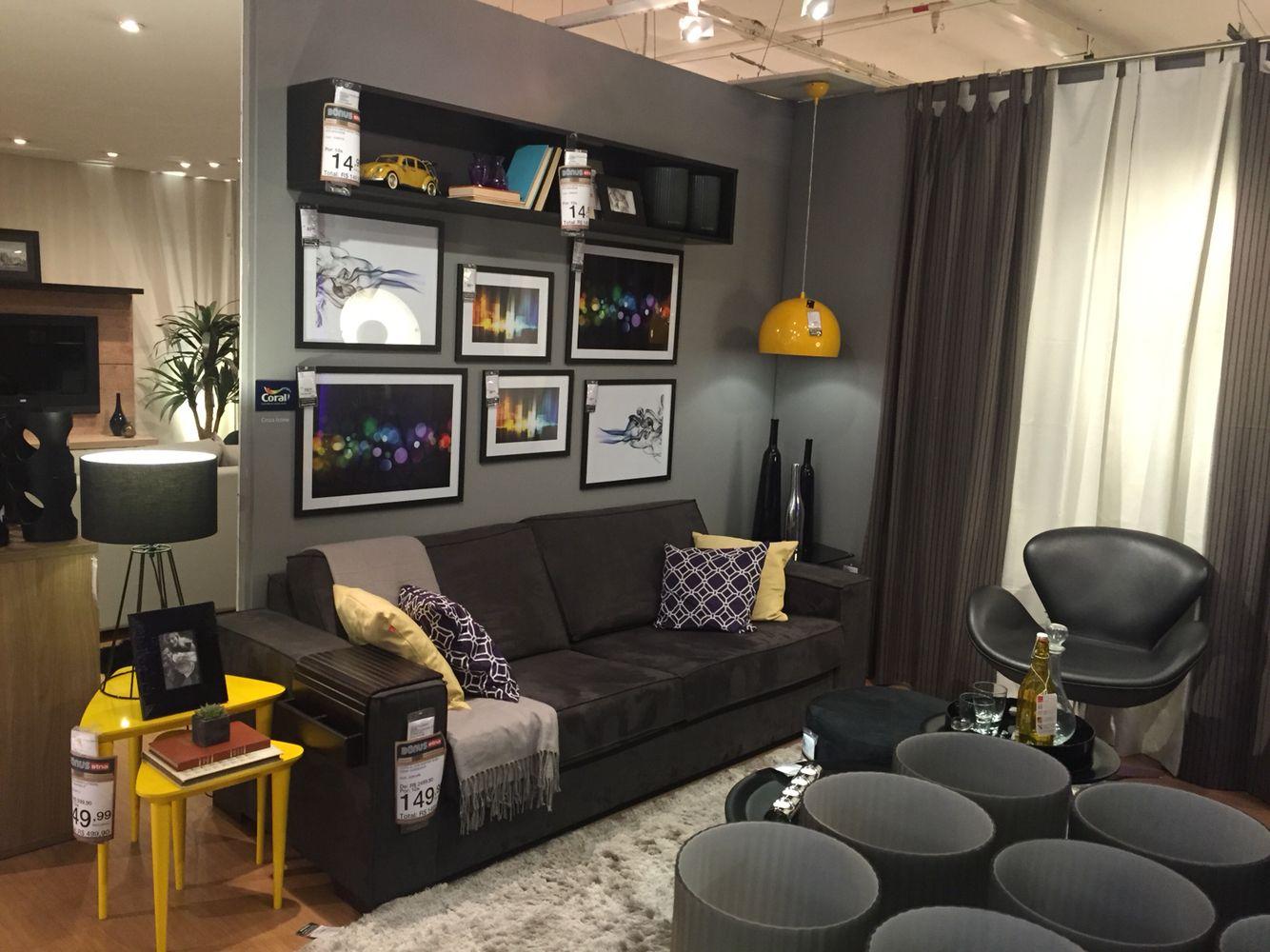 Sala De Estar Cinza Com Amarelo ~ sala estar cinza e amarela etna em construção sala de estar maquete