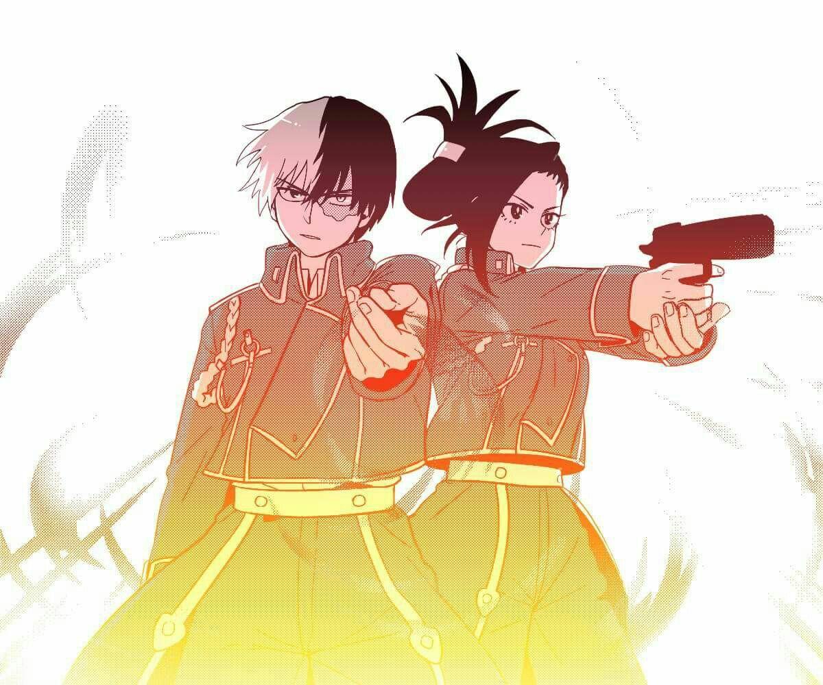 Todoroki and Momo as Roy Mustang and Riza Hawkeye. My Hero