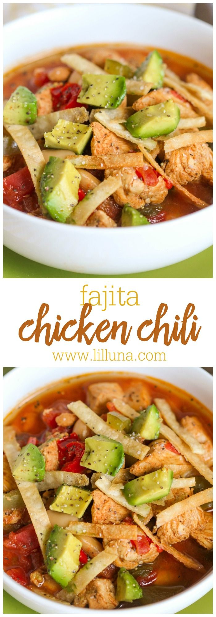Delicious and Hearty Fajita Chicken Chili recipe - a must-try soup recipe the whole family will love. { lilluna.com } Recipe includes chicken, avocados, tomatoes, kidney beans, sitr-fry veggies and lots of delicious seasonings!