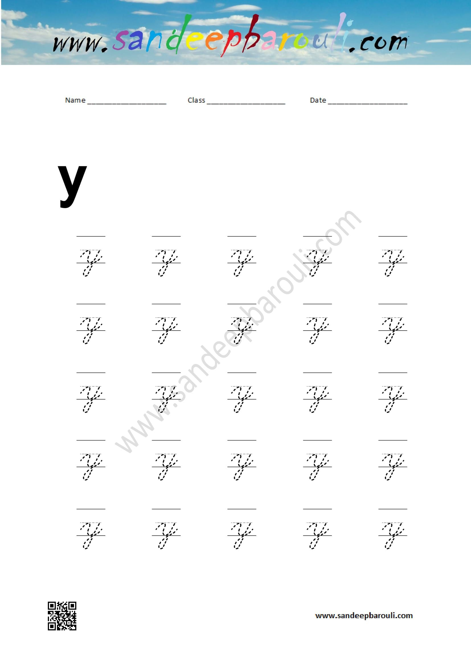 Cursive Writing Worksheet for small letter y – Educational Website ...