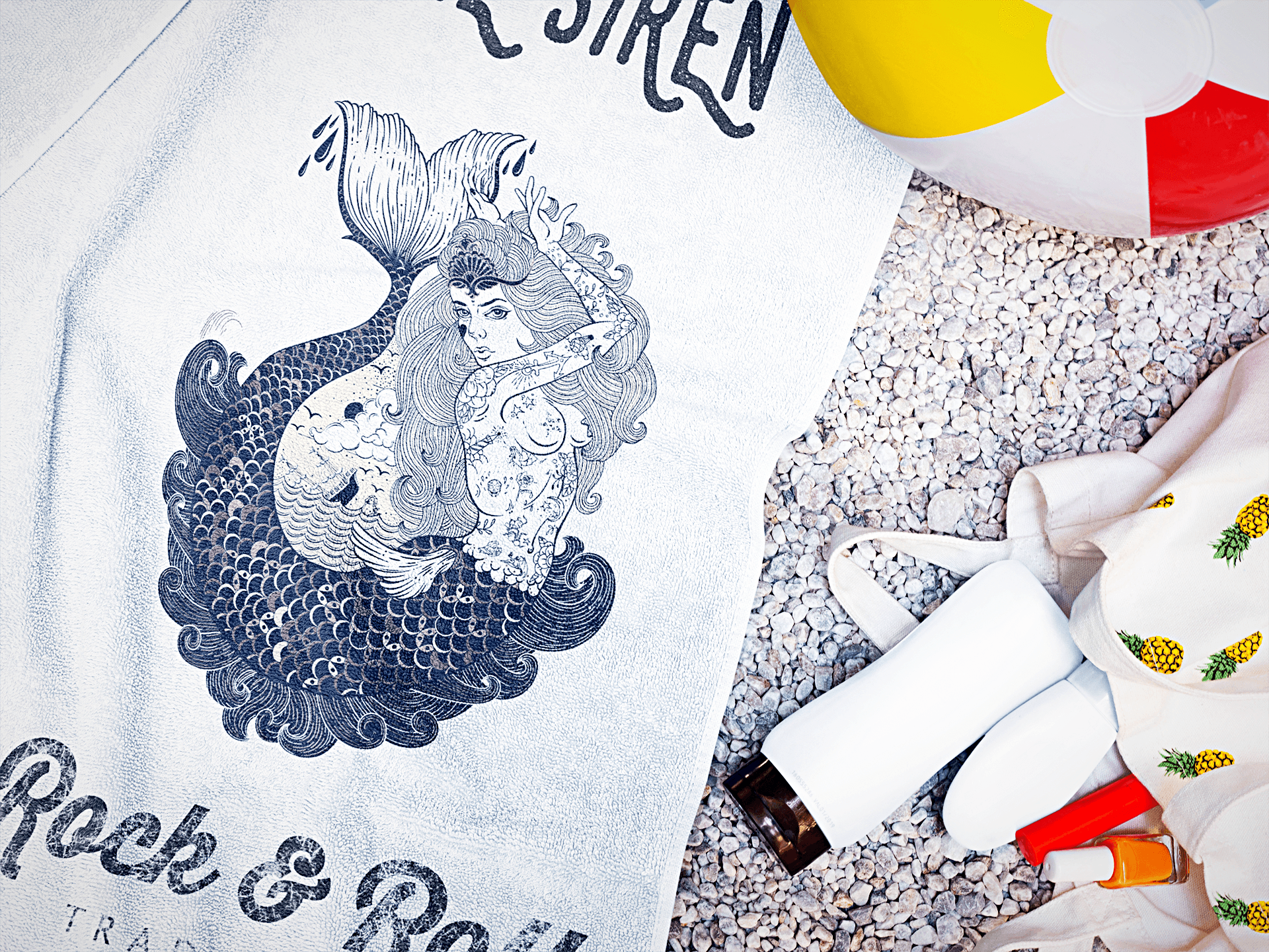 Siren Vintage Mermaid Tattoo Beach Towel Of Rock N Roll Blue