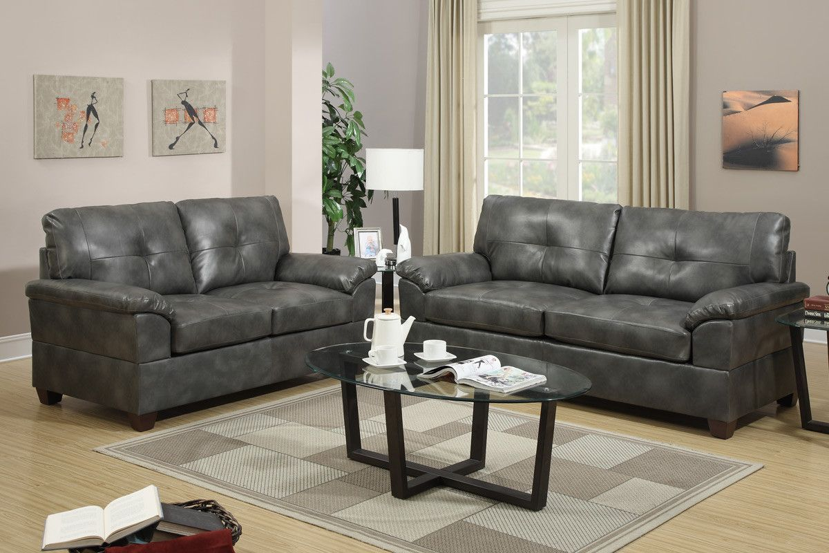 Crafted with sleek and bold lines this twopiece sofa set combines
