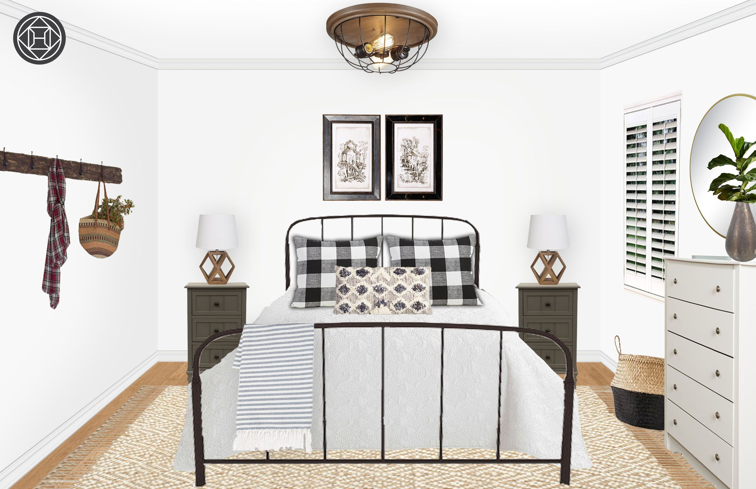 Industrial, Farmhouse, Transitional Bedroom Design by