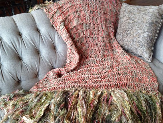 Afghan Decor Blanket With Fringe Coral Salmon Yellow Mustard Gold Magnificent Coral Colored Throw Blanket