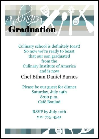 Find Lots Of Cooking School Invitation Wording For Graduation Are