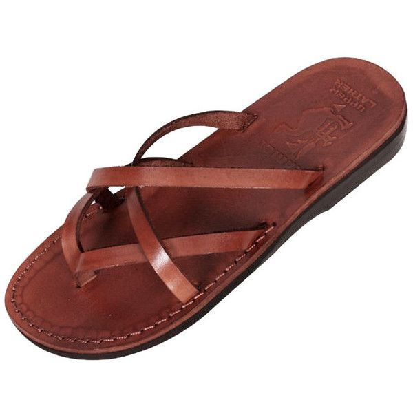 497b320a76794d Criss-Cross Biblical Handmade Leather Flip-Flop Sandal Carmel ( 28) ❤ liked  on Polyvore featuring shoes