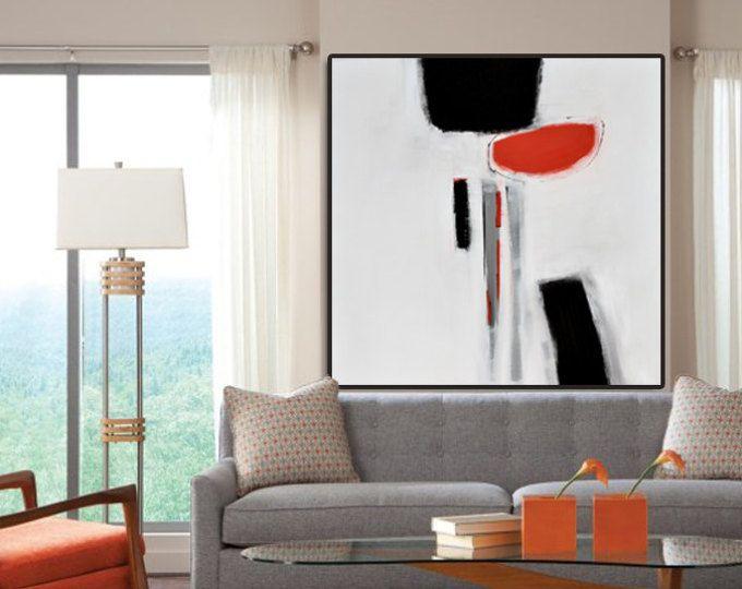 original gro e abstrakte kunst malerei auf leinwand schwarz wei orange wandkunst gro e acryl. Black Bedroom Furniture Sets. Home Design Ideas