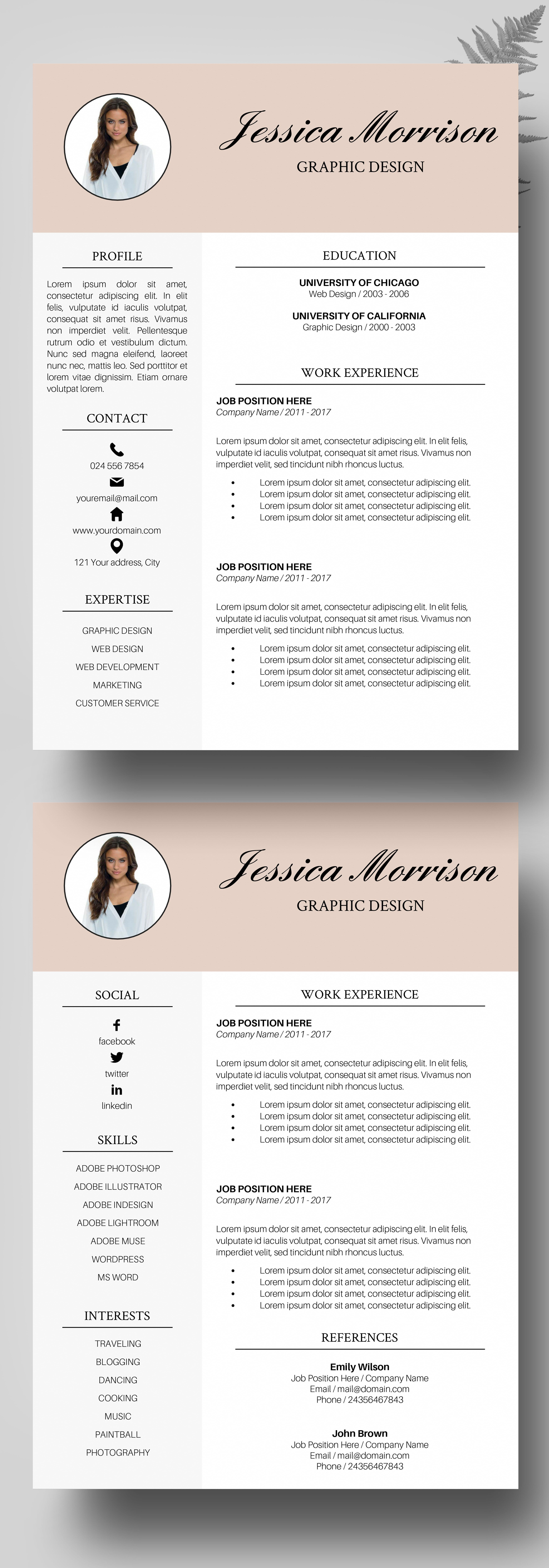 Photo Resume Template Resume Instant Download Cv Template Word