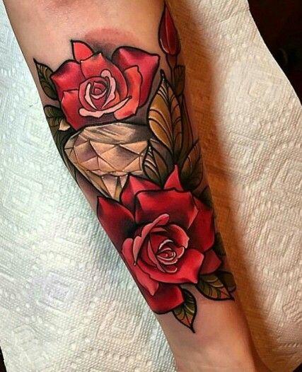 Roses And Diamonds Tattoo : roses, diamonds, tattoo, Roses, Diamond, Tattoo, Traditional, Tattoos,, Designs,, Sleeve