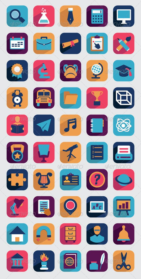 Set of Flat Education Icons for Design GraphicRiver Set