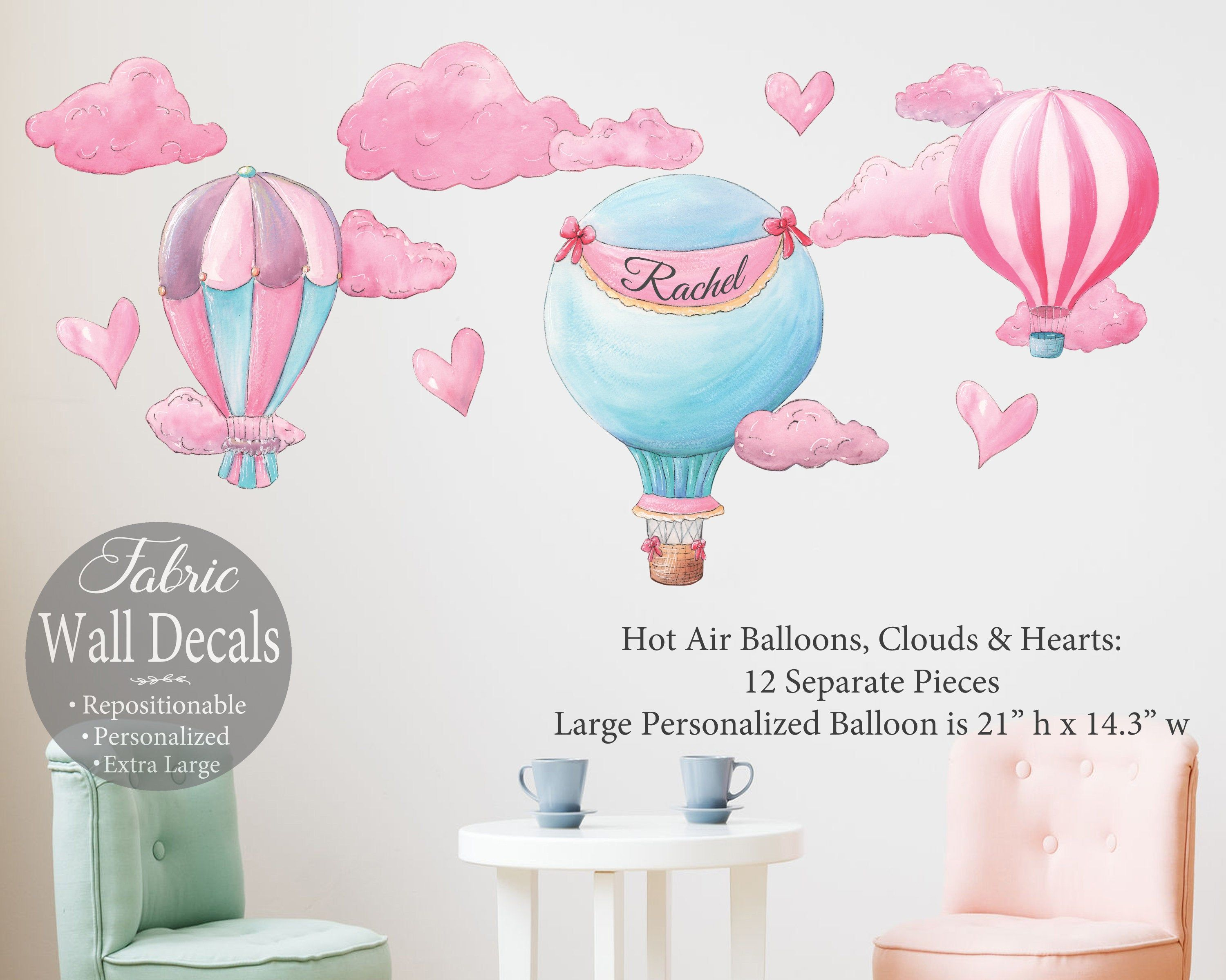 Hot Air Balloon Personalized Decal Set Custom Wall Sticker