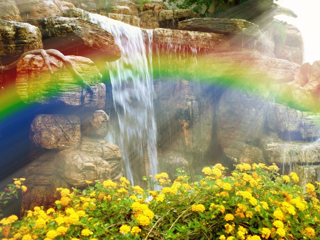 Rainbow Over A Waterfall Jigsaw Puzzle In Waterfalls Puzzles On Vodopady Raduga