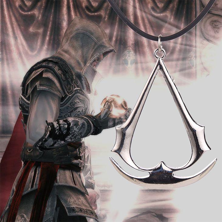 Assassins creed halskette game Altair Ezio Connor Desmond silber gold anhänger leder seil schmuck für männer und frauen großhandel