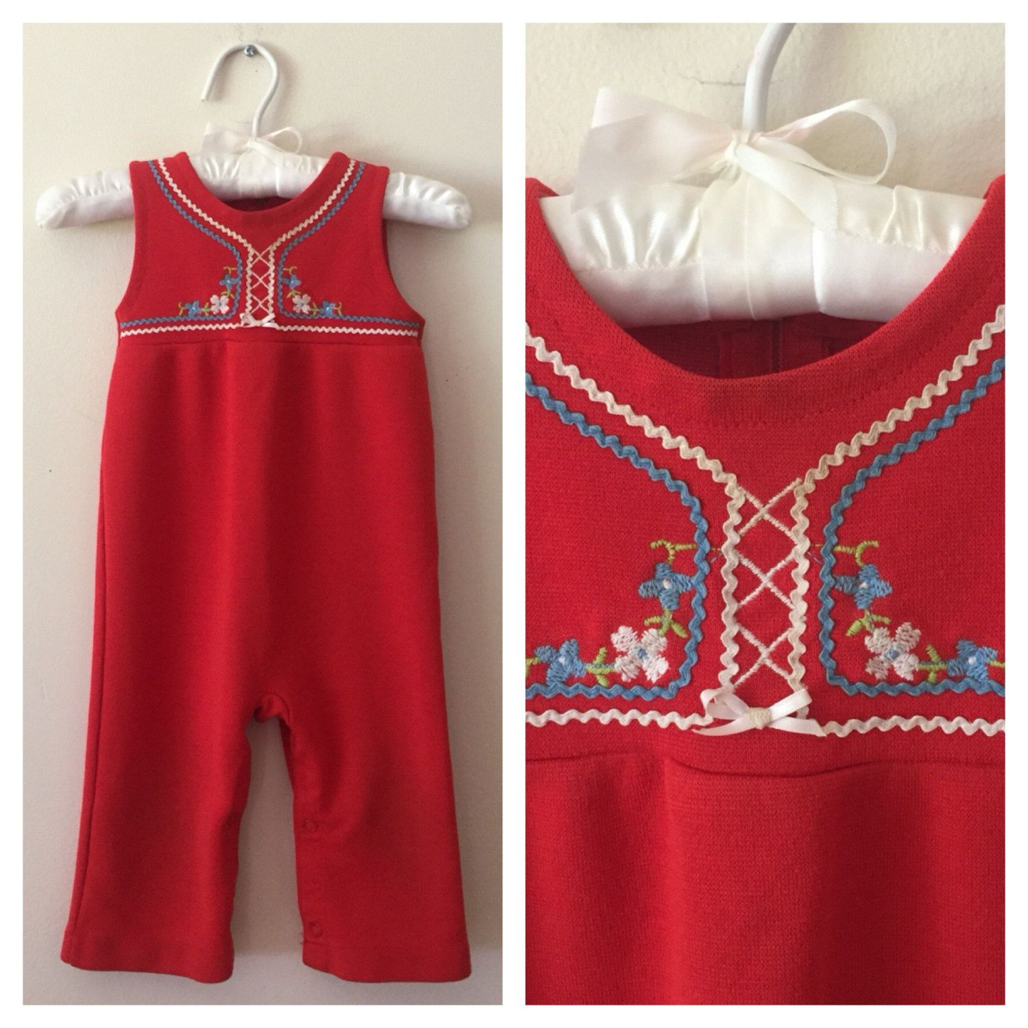 70s Kmart Togs Red Embroidered esie Overalls Baby Girls Size 18