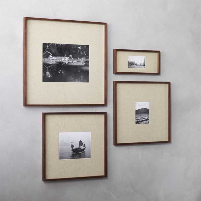Gallery walnut picture frames with linen mats | Products