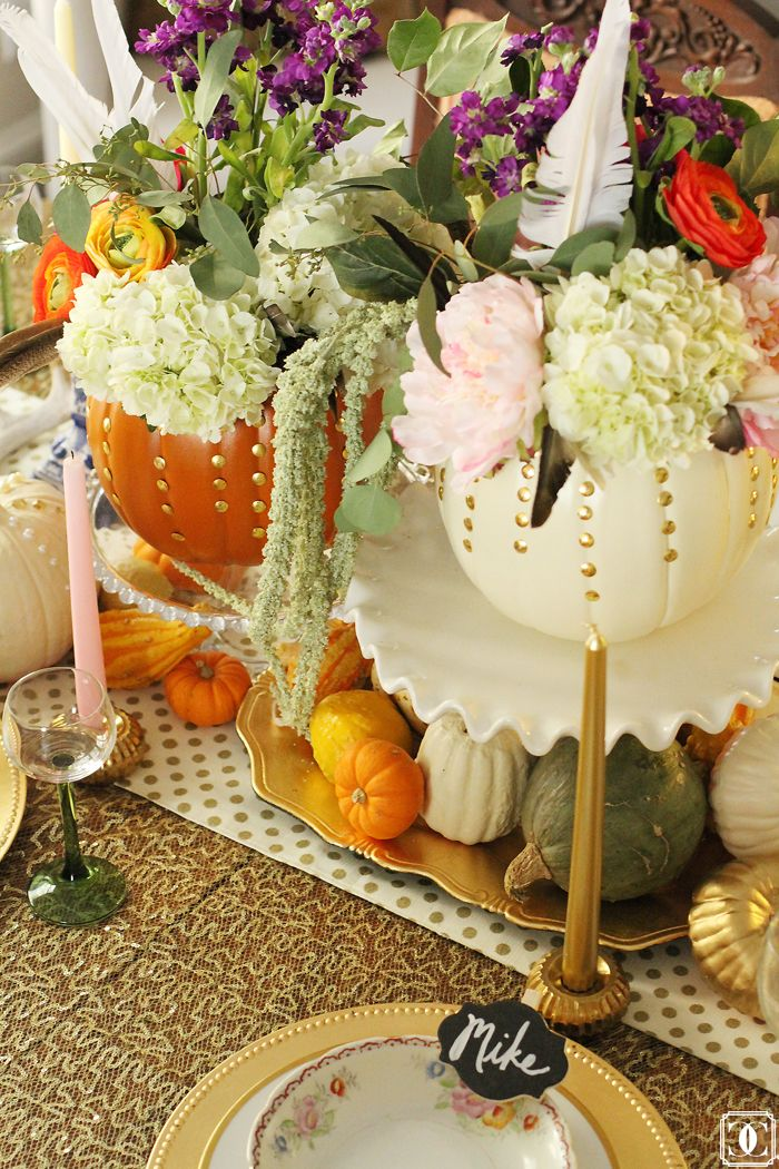 Girly and Glam #Thanksgiving #Tablescape via Charming in Charlotte. www.charmingincharlotte.blogspot.com