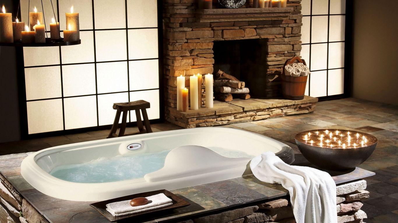 Spa Badkamer Ontwerp : Spa bathroom with fireplace master bath