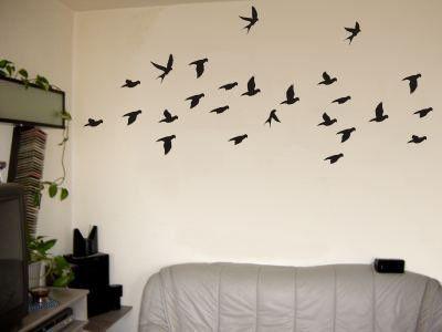 Wandtattoo / Wandaufkleber sehr grosses Vogelschwarm-Motiv; Farbe