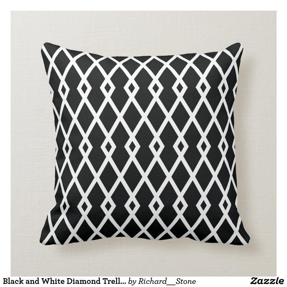 Black And White Diamond Trellis Pillow Zazzle Com Black And White Cushions Trellis Pillow Black And White Pillows