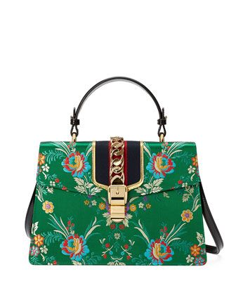 32eae2763291 Sylvie+Floral+Jacquard+Top-Handle+Bag ,+Green/Multi+by+Gucci+at+Neiman+Marcus.